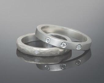 Stacking modern wedding ring set, Simple diamond ring set, His and hers wedding rings, Modern wedding band, Modern diamond ring set