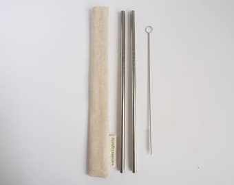 Reusable twin Stainless Straw set with straw cleaner & Hemp Pouch