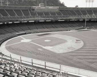 Candlestick Park Black & White Vintage and Empty Stadium Photograph