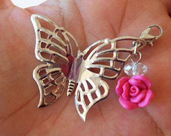 SALE - Butterfly Pendant w/ Rose and Crystal