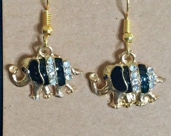 Gold and Black Elephant Charm Earring Set/ Elephant/ Fish Hook Earring Wires