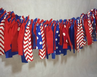Red White And Blue Rag Banner Birthday or Patriotic Fourth Of July