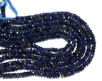 """Natural Dyed Blue Iolite Micro Faceted Rondelle Gemstone Loose Beads 10"""" 5mm 6mm - Jewelry Making"""