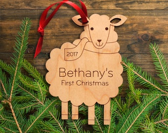 Baby's First Christmas Wooden Sheep Ornament: Personalized Name 2018, Farm Animal Ornament, Lamb