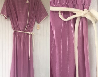 Vintage NWT 70s Pastel Mauve Pink & White  Dress Size Large L LG XL Fits 10 12 14 Short Sleeve Deadstock 1979 80s Spring Summer Festival
