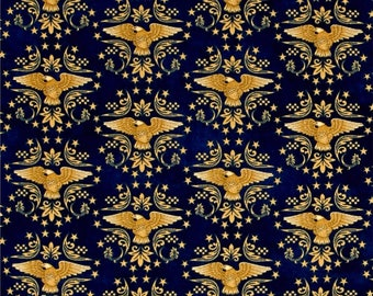 QT Fabrics Patriotic Blue Gold Eagle Star For Love of Country American QOV Fabric BTY