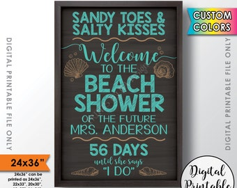"""Beach Bridal Shower Sign, Countdown Bridal Shower Welcome Poster, Beach Themed Wedding Shower, 24x36"""" Chalkboard Style Printable Sign"""