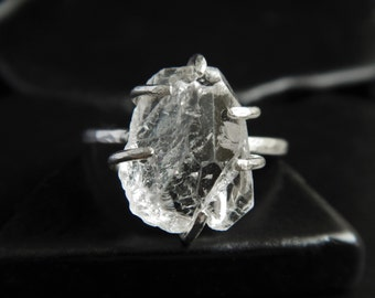 Rough White Topaz Crystal and Sterling Silver Ring - Topaz Ring - Raw Crystal Ring - Rustic Ring - Rough Stone Ring - Gifts under 75