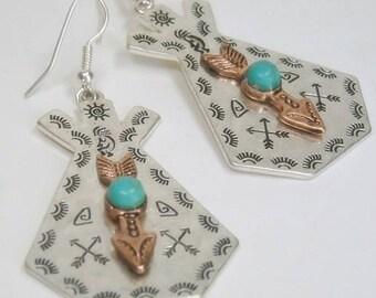 Sale  Teepee Earrings with Arrow, Tribal Earrings, Turquoise Earrings, Two Tone, Native, Southwestern, Dangle, Blue Stone, Southwest Jewelry
