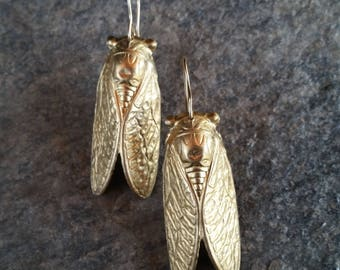 Gold Cicada Earrings, Insect Earrings with Cicada Wings, Cicada Jewelry, Bug Jewelry, Nature Inspired Jewelry