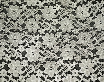Ivory rachelle lace flower mesh sheer polyester home decor by the yard