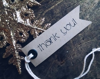 thank you! Pennant style tags, product tags, set of 12