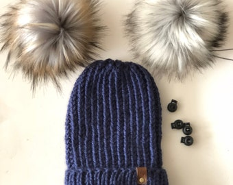 Hand Knit First Frost Fitted/Slouchy Folded Brim Beanie Navy Blue Faux Fur Pom Acrylic Bulky Yarn Handmade Skiing Sledding Winter Snow Hat