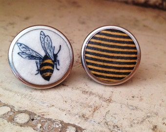 Bee earrings, save the bees, round earrings, yellow and black, handmade by Tablewear made in Montreal