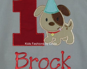Personalized Birthday Gray/Aqua Puppy/Dog Longalls
