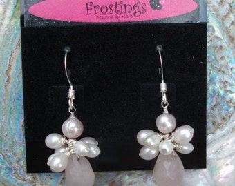 Snow Angels - Rose Quartz and Freshwater Pearl Earrings