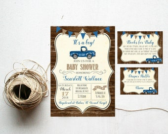 Baby Shower Blue Vintage Truck Rustic Wood Baby Boy Farm Country Shower Invite, Invitation Antique Truck, Diaper Raffle Book Request #1060