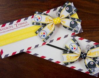 Pittsburgh Steelers Headband, Pittsburgh Steelers Pinwheel Bow, Headband, Pinwheel Bow, Baby Headband, Toddler Hair Bow