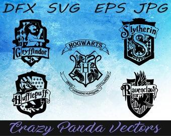 Harry Potter Emblem Set of 5 Hogwarts Houses - Gryffindor - Slytherin - Ravenclaw - Hufflepuff - Hogwarts Houses SVG - Christmas Ornament