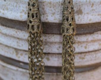Tassel earrings, antique bronze tassel earrings, vintage tassel earrings, tassel jewelry, vintage jewelry, long tassel earrings, cone tassel