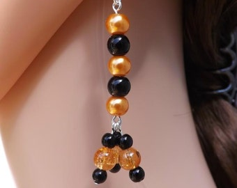 Black and orange Halloween earrings with sterling silver ear wires