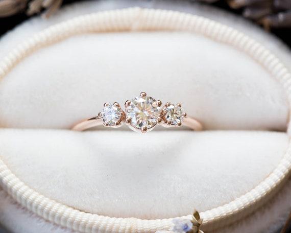 Three stone moissanite engagement ring, diamond alternative engagement ring, gold engagement ring, unique engagement ring, alternative ring