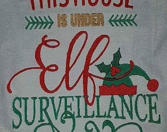 Elf surveillance machine embroidery design, 9 formats available, dst, exp, hus, jef, pes, sew, vip, vp3, xxx, 3 sizes, 4x4 5x7, 6x10,