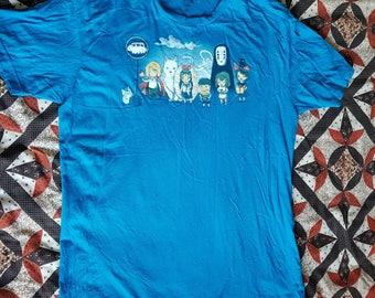 Bright blue medium large studio ghibli tshirt