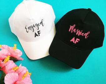 Engaged AF Hat - Married AF Hat - Bridal Baseball Hat - Wedding Trucker Hat - Bride and Groom Hats - Wedding Party Hats - Honeymoon Hats