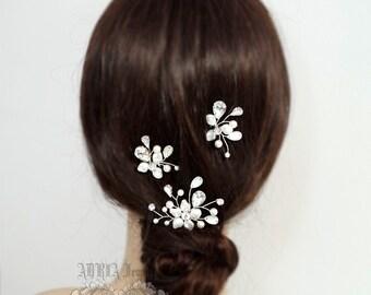 3 Bridal Hair Pins Set, Pearl Rhinestone Wedding Hair Accessories, White Swarovski Pearl Rhinestone Silver Hairpins  H1014