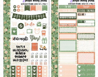 Wildflower PERSONAL Weekly Kit // Sized for the SMC Inserts // Planner Stickers!