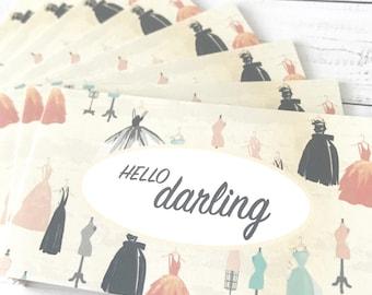 Hello darling - Dresses - Mini cards + envelopes, Stationary, Blank notecards, Handmade card, Encouragement, Packaging, Gift enclosu