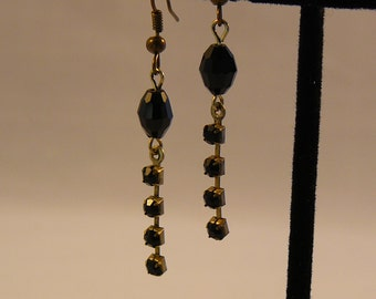 Ebony Black Crystal Drop Earrings
