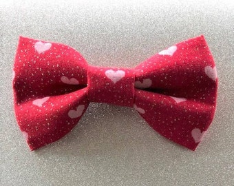 Pink Hearts Pet Bow Tie