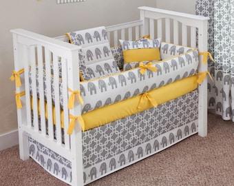 Designer Custom Made  - Elephants Yellow 5pc Crib Bedding Set
