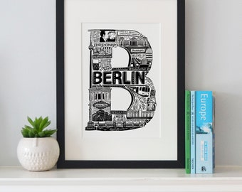 Best of Berlin print -Typographic Print - letter art - housewarming gifts - European Gifts - Wall art - Germany poster