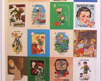 """Stamp sticker stickers for scrapbooking retro vintage """"model 11"""" 1 embroidery sheet of 20 stamps"""