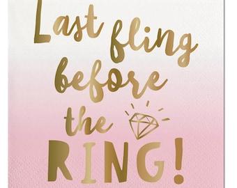 Last Fling Napkins, Last Fling Before the Ring, Bachelorette Decor, Bridal Decor, Party Napkins, Bachelorette Party, Before the Ring