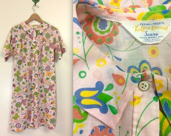 Vintage 1960s Sears Koffee Kasual Butterfly Floral Duster - MOD