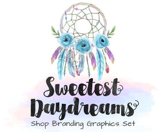 Dreamcatcher Shop Branding Banners, Avatar Icons, Business Card, Logo Label + More - 13 Premade Graphics Files - SWEETEST DAYDREAMS