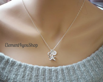 Sterling Silver Starfish necklace, Starfish Necklace Initial & Birthstone, Bridesmaid Necklace, Starfish Jewelry, Bridesmaid Gifts, Wedding