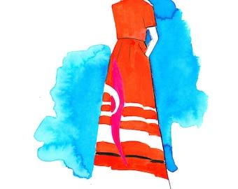 Delpozo PreFall 2017 04 Art Print Fashion Illustration, Fashion Sketch, Fashion Art, Watercolour Illustration