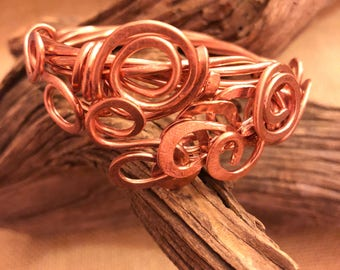 Thick Gage Solid Copper Whimsy Bangle