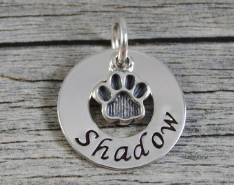 Hand Stamped Jewelry - Personalized Pet Jewelry - Charm For Necklace - Sterling Silver Washer - Paw Print Charm