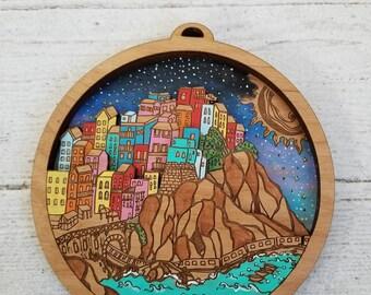 Cinque Terre Illustration, Cinque Terre Art, Cinque Terre Mini City by Rylee and Ink, Cinque Terre Souvenir, Wedding Gift Idea, Custom Gift