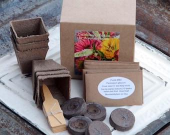 Flower Garden Gift Set, Heirloom Flower Seeds and Garden Supplies in Gift Box, Easy DIY Plant Kit, Great Hostess Gift or Gift for Mom