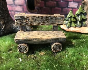 Miniature woodland bench, fairy garden bench, miniature bench. Terrarium supply, fairy garden accessories