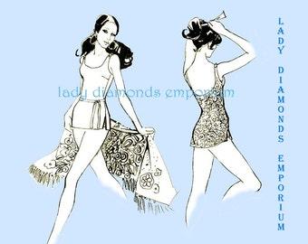 Stretch & Sew 1325 Womens 1 Piece Swimsuit Sun Suit Swim Dress Bust 32 34 36 38 40 42 Vintage 60s Petite - Plus Size Sewing Pattern Uncut FF
