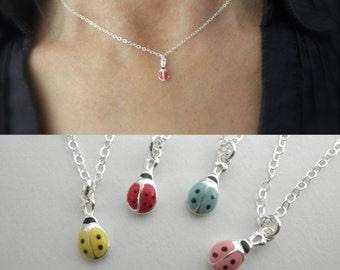 Tiny Lucky enamel ladybug necklace - ladybug charm necklace - enamel ladybug pendant - colorful ladybug
