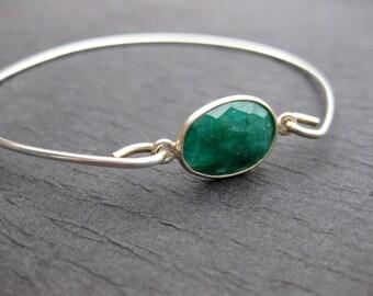 Raw Emerald & Sterling Silver Bangle Bracelet, Genuine Gemstone Bracelets, Natural Emerald Jewelry | May Birthday Gift | May Birthstone